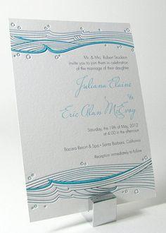 Ocean Waves Beach Wedding Invitation - G1
