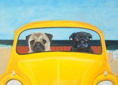 11x14 / Two for 1 / Pug Art Dog Print / Joy Riders / by dogwagart, $18.50