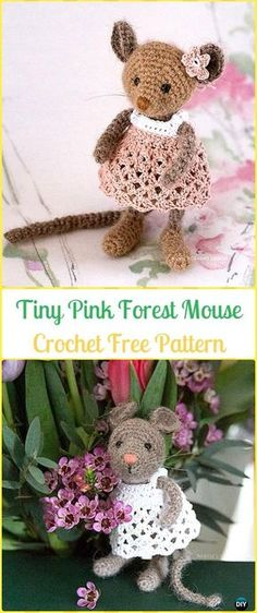 Crochet Tiny Pink Forest Mouse Amigurumi Free Pattern - Amigurumi Crochet Mouse Toy Softies Free Patterns