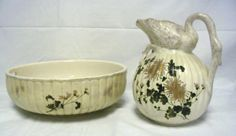 HAND PAINTED WATER BOWL & PITCHER; PITCHER HAS A SWAN TOP; BOWL IS 15 IN DIA & 5 1/4 IN HIGH, PITCHER IS 11 IN HIGH