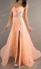 Long Formal Chiffon Bridesmaid Evening Party Ball Gown Prom Wedding Dresses 2014