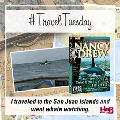 Who all has seen a whale? Travel to the San Juans (and solve a mystery!) in Nancy Drew: Danger on Deception Island! Get the game today at herinteractive.com! #TravelTuesday #NancyDrew #HeRInteractive