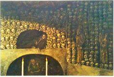 Oscar Parviainen (1880-1938) Kapusiini Munkkien hautakammio, 1914 Fantastic Art, Dark Art, City Photo, Fantasy, Glass, Drinkware, Imagination, Corning Glass, Fantasy Movies