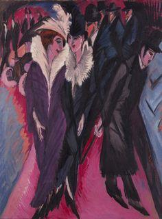"""Street, Berlin"" Ernst Ludwig Kirchner (1913). I love this painting! So glamorous yet so sinister..."
