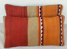 SET OF 2 Kilim Lumbar Pillow Covers,10x20 Bohemian Decor Red Green Orange Color Wool Mini Body Kilim Pillows,Kilim Tribal Pillow, Area Rugs