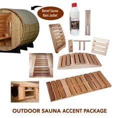 Outdoor Sauna Accent Package - Almost Heaven Saunas Sauna Accessories, Barrel Sauna, Outdoor Sauna, Outdoor Furniture, Outdoor Decor, Ottoman, Packaging, Saunas