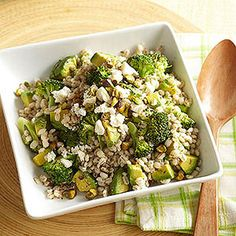 This low-carb vegetarian dish features fiber-rich whole wheat barley and broccoli, a vitamin C-loaded power food. Drizzle the pilaf with our tart homemade mustard dressing, sprinkle with feta cheese, and serve it as a main or side dish.