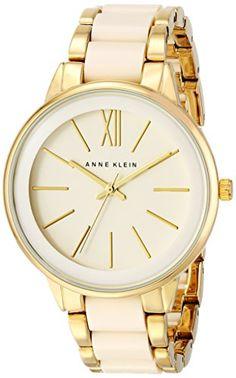 Great gift idea Anne Klein Women's AK/1412IVGB Gold-Tone and Ivory Resin Bracelet Watch