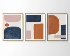 Abstract Shapes Set of 3 Prints Burnt Orange Blue Blush Pink Abstract Wall Art Mid Century Modern Art Print Printable Art Minimalist Print - Best Painting Ideas For Beginners Pink Abstract, Abstract Shapes, Geometric Art, Abstract Paintings, Digital Paintings, Indian Paintings, Abstract Oil, Abstract Landscape, Oil Paintings