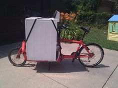 Are you kidding me? Delivering white goods on a bike!