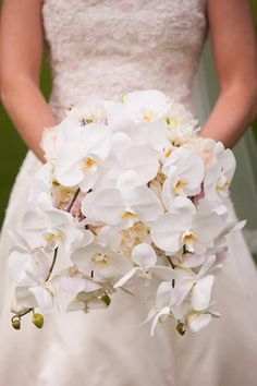 Gorgeous example of the classic white phalaenopsis  orchid bouquet. Neil Leesom Floral