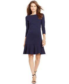 Lauren Ralph Lauren Ruffled-Hem Ponte Dress