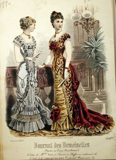 1880 Evening Gowns - the silhouette is what allows others to recognize & distinguish a bustle dress. 1870s Fashion, Edwardian Fashion, Vintage Fashion, Vintage Outfits, Vintage Gowns, Vintage Hats, Historical Costume, Historical Clothing, Style Édouardien