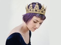 Gold Lace Crown - Gold Crown, Headpiece, Woman's Birthday Crown, Royal, Gold Crown, Crown, Bridal Shower, Gold, Goddess, Tiara, Photo Prop