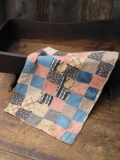 Early Antique Doll Quilt w Blue Calicos   #NaivePrimitive