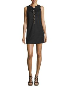 Sleeveless+Lace-Up+Shift+Dress,+Black+by+Kendall+++Kylie+at+Neiman+Marcus.