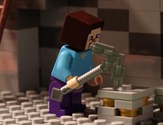 Steve is mining for ores while the zombie and the spider are plotting against him. He could have used a stronger pickaxe! The Farm stop motion is coming soon. Minecraft Video Games, Minecraft Toys, How To Play Minecraft, Lego Brick, Toys Shop, Stop Motion, Lego Sets, Fun Learning, Usb Flash Drive