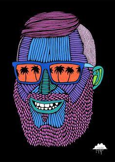 Mulga The Artist: Jolly Joel Mulga Jolly Joel, Posca on Paper, 21 x 30 cm Art And Illustration, Portrait Illustration, Illustrations, Graphic Design Illustration, Graphic Art, Arte Pop, Akira, Psychedelic Art, Pop Art