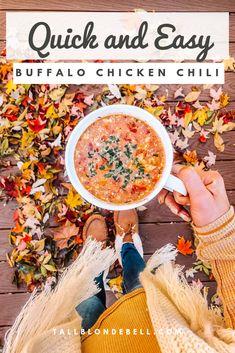 Easy Buffalo Chicken Chili Recipe – Tall Blonde Bell – Famous Last Words Easy Buffalo Chicken Chili Recipe, Buffalo Chicken Soup, Chili Recipes, Crockpot Recipes, Soup Recipes, Hamburger Recipes, Barbecue Recipes, Chicken Recipes, Recipies