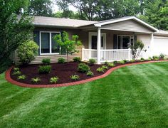 Beautiful front yard landscaping idea and Edging design.