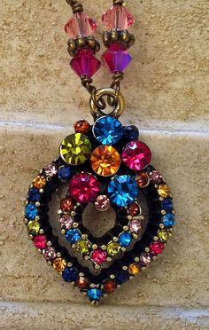 New w/Swarovski Rose/Fuchsia Crystal Rhinestone Heart Pendant Necklace #HisJewelsCreationsDesign #HeartPendant
