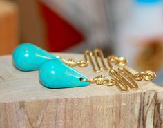 Turquoise Earrings Gold Turquoise Earrings by BirchBarkDesign
