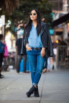 How To Pull Off Fall Layering Like A Total Pro #refinery29 Denim on denim done right. Lindsey Louie in a Zara top and jeans, IRO jacket, Acne boots, and Ray-Ban sunglasses.