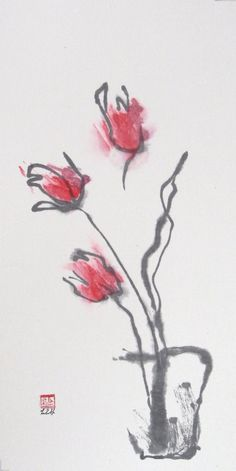 Getting a lot of inspiration from the simplicity and beauty of sumi-e paintings. This is Ink and Watercolour by LilithOhan