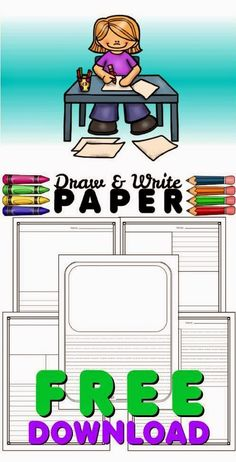 and Write Paper: FREEBIE FRIDAY! Draw and Write Paper FREE: Create short stories, use for morning work or writers workshop.Draw and Write Paper FREE: Create short stories, use for morning work or writers workshop. Writing Strategies, Writing Lessons, Writing Resources, Writing Activities, Writing Rubrics, Paragraph Writing, Opinion Writing, Persuasive Writing, Dissertation Writing
