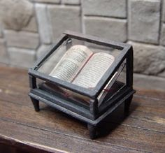 Miniature Antique Book Under Glass in 1/12 scale by EV Miniatures