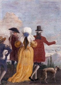 The Promenade - Giovanni Domenico TIEPOLO,  1791, Detached fresco, 200 x 170 cm, Museo del Settecento Veneziano, Ca' Rezzonico, Venice