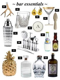 bar cart essentials by BIMH