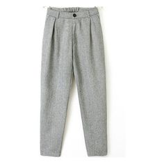 Light Grey Elastic Waist Loose Pant ($24) ❤ liked on Polyvore featuring sheinside, pants and grey