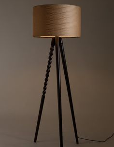 Walnut Twist Tripod Floor Lamp