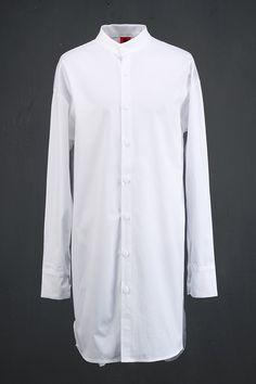 Unbalance Band Collar Long Shirts