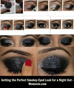 Learn how to do a smokey-eyed make up look with a little glitter. This makeup look is great for the clubs or a fun night out and were invented for girls who loves glitter.
