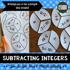 """Subtracting Integers """"Do-Si-Do"""" Find & Match Activity A fun and moving activity! These problems can be used in multiple uses, depending on your students, you can decide how you would like to utilize them. These problems are all only subtracting integers which are broken up into three parts."""
