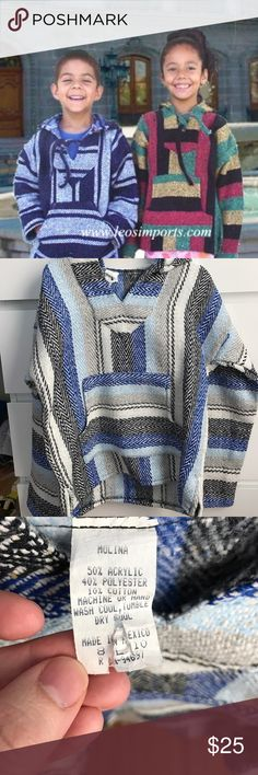 Kids Baja poncho - size 8-10 - never worn. NWOT Blue, black, and white poncho I purchased for my son, but he ever wore it. Made in Mexico, purchased in San Diego. First photo to show styling and unisex nature of poncho only. The latter 3 photos are the actual item. Let me know if you have questions! Shirts & Tops Sweatshirts & Hoodies