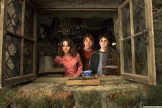 Golden Trio in Hagrid's Hut Harry Potter Hermione Granger Ron Weasley