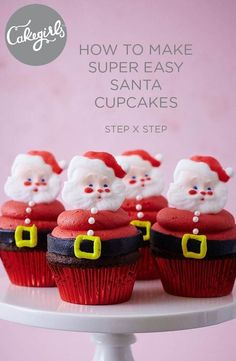 How To Make Easy Santa Cupcakes Easy Santa Claus cupcakes will be the hit of your Christmas party. Sugar Dec On Santa faces makes these a cinch. See the tutorial and shop supplies! Santa Cupcakes, Christmas Cupcakes, Christmas Desserts, Christmas Treats, Icing Cupcakes, Thanksgiving Cupcakes, Disney Cupcakes, Cheesecake Cupcakes, Halloween Cupcakes