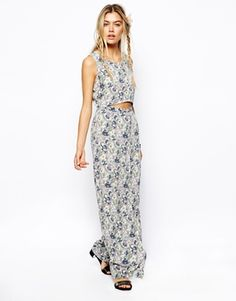ASOS Reclaimed Vintage Maxi Dress In Rose Print With Cut Out Detail
