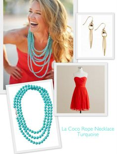 Color Pop!   Found this on a wedding website love the Orange & the Stella & Dot Turquoise La Coco beads & limited edition earrings.   www.stelladot.com/sites/juliaklemin