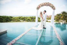 Get married on the water with us here at Dreams Playa Mujeres! This option is available when staying in the Presidential Suite. #DestinationWedding #WeddingontheWater #DreamsPlayaMujeres