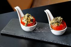 The Kitchen Whisperer Cheesy Spinach Dip Stuffed Roasted Tomatoes