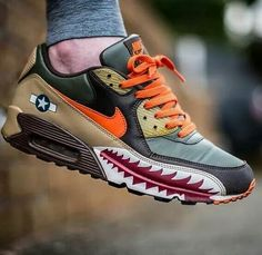 Give 'em hell! swoops into battle in the Nike Air Max 90 'Warhawk' from Sneakers For Sale, Best Sneakers, Custom Sneakers, Sneakers Fashion, Fashion Shoes, Sneakers Nike, Nike Air Force 1, Nike Air Max, Designer Sneakers Mens