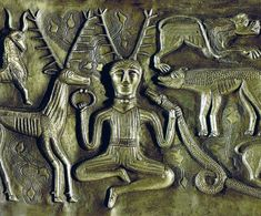 The Gundestrup Cauldron. Solid silver, Celtic in origin, found in a Viking tomb. It boasts this iconic image of Cernunnos, the Horned God.