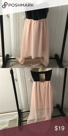 High low dress Started black leather top light pink flowing High low skirt Dresses High Low