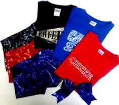 Just $89.99 Cheer Campwear / Practice Wear  Package #7 You choose the fabrics and colors for (3) iCupid Shorts with pockets,  (3) Bling tees, with one of our designs or your own logo or design.  Also includes (1) iCupid Hair Bow.   *Set up charges for custom bling may apply on orders less than 8.    If you need help with this package, just give us a call!  214-267-9183