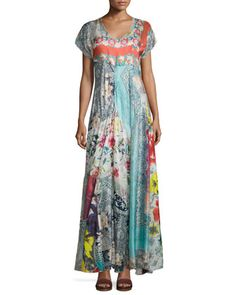 """Johnny Was Collection """"Lulu"""" dress in mix-printed georgette; included slip. V neckline. Short sleeves. Bias silhouette. Flowy skirt. Hem hits foot. Silk; hand wash. Imported."""