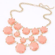 Packaging Light Pink Gemstone Decorated Square Shape Design Alloy Korean Necklaces :Asujewelry.com